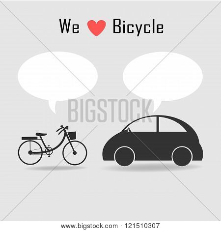Bicycle And Car Icons With Grey Background