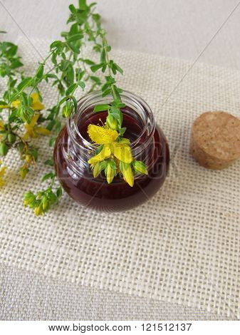 St. John's wort oil in bottle