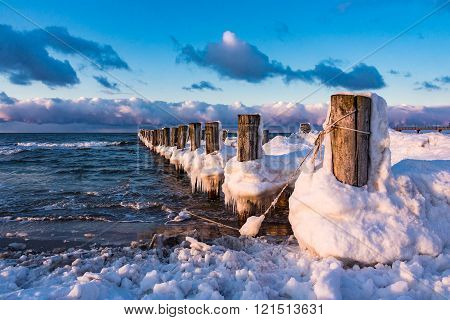 Groyne On Shore Of The Baltic Sea