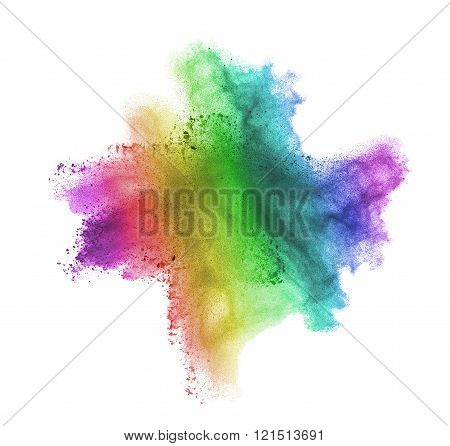 Gradient colorful powder splash isolated on white background