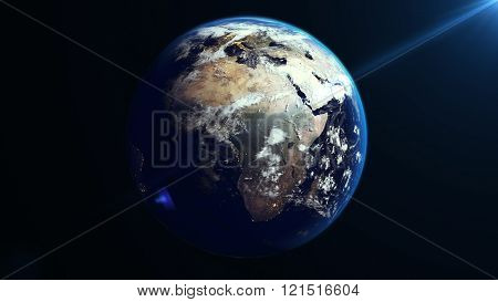 Earth Rotation In Space. Africa Continent.
