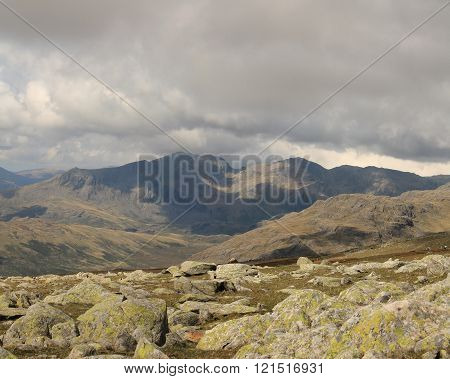 Distant Scafell Mountain Range