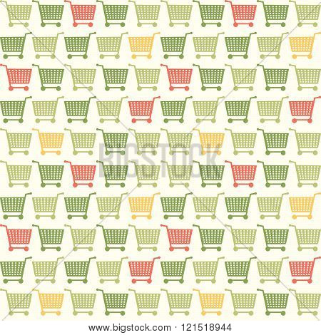 Seamless Shopping Cart Colored Pattern