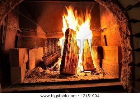 fire woods in a oven