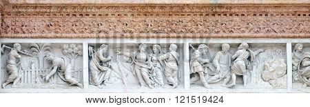BOLOGNA, ITALY - JUNE 04, 2015: Christ in the Garden of Mary Magdalene, Mary Magdalene points out Redeemer and Jesus accompanies the journey of the disciples, San Petronio Basilica in Bologna