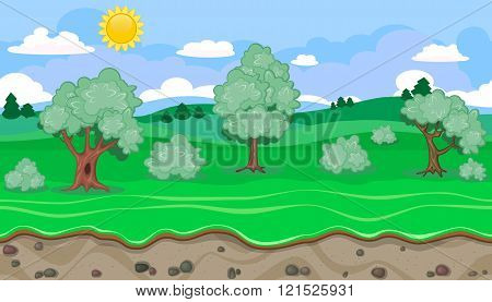 Seamless Editable Green Rural Landscape For Game Design