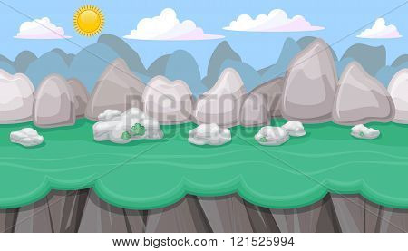 Seamless Editable Mountainous Landscape With Boulders For Game Design