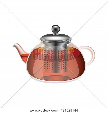 Glass teapot with herbal tea isolated on a white background.