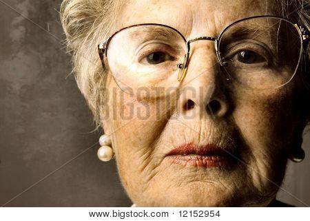 closeup of senior lady face