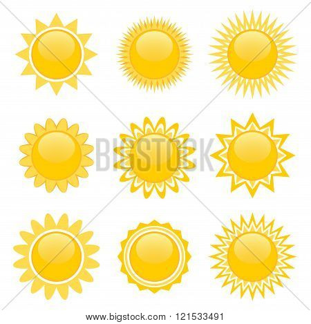 Set Of Sun Icons For Game Design
