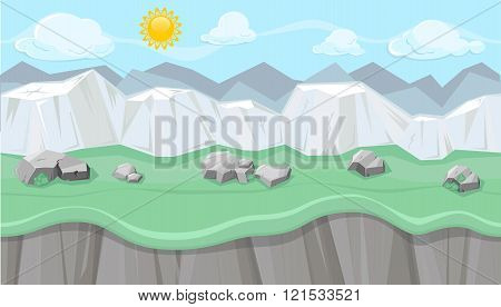 Seamless Editable Mountainous Landscape With White Cliffs For Game Design