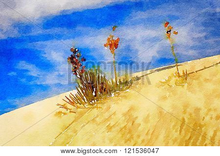 Beautiful Original Watercolor Painting Of White sands New mexico