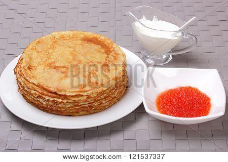 Pancakes, Red Caviar And Sour Cream