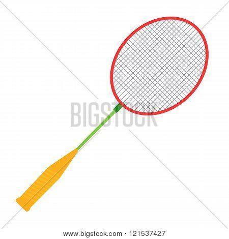 Vector Badminton racket illustration. Badminton racket isolated on white background. Badminton racke