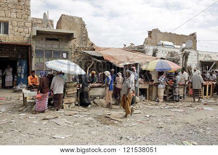 HADIBOH, SOCOTRA ARCHIPELAGO, YEMEN - FEB 14, 2016: Local market in the main town on the Socotra island