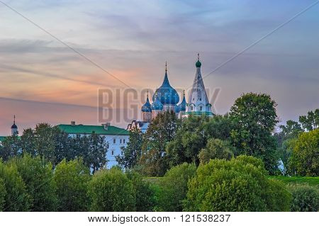 Sunset over the Suzdal Kremlin in Russia