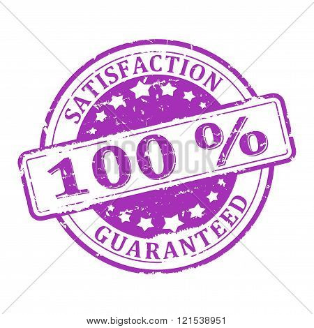 Damaged Round Purple Stamped - A 100% Satisfaction Guarantee - Vector