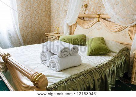 Vintage classic hotel bedroom interior