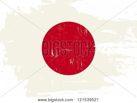 Japan scratched Flag. A japanese flag with a grunge texture