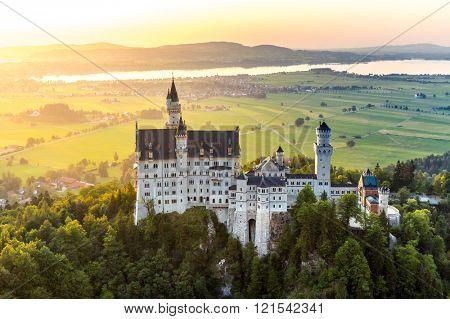 Beautiful summer sunset view of the Neuschwanstein castle at Fussen Bavaria, Germany