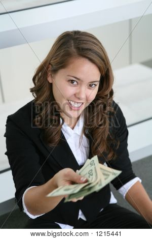 Business Woman Giving Money