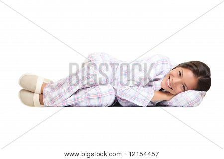 Woman Isolated In Pajamas