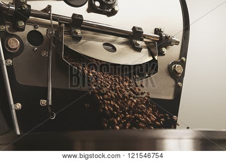 Beans Freshly Baked Fall Inside Roasting Machine Closeup