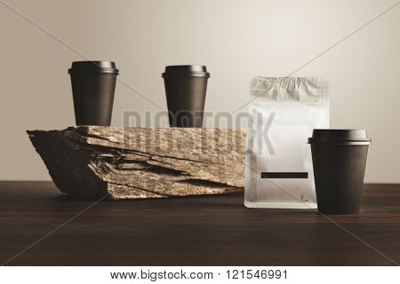 Two Paper Cups Unfocused One In Focus Isolated Blank Package