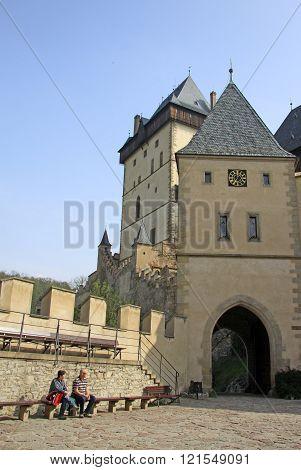 Karlstejn, Czech Republic - April 30, 2013: Inside Karlstein Castle, Karlstejn, Czech Republic