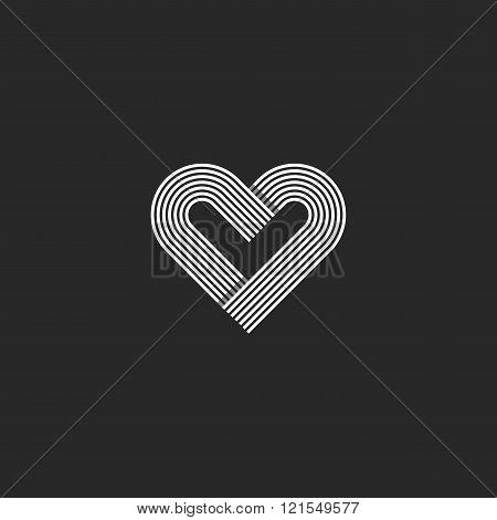 Heart Logo Monogram Wedding Invitation Decoration Design Element, Offset Parallel Line Geometric Sha