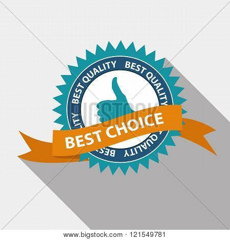 Best Choice Quality Label Set in Flat Modern Design with Long Sh