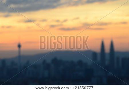 Blurred cityline of Kuala Lumpur at the sunset