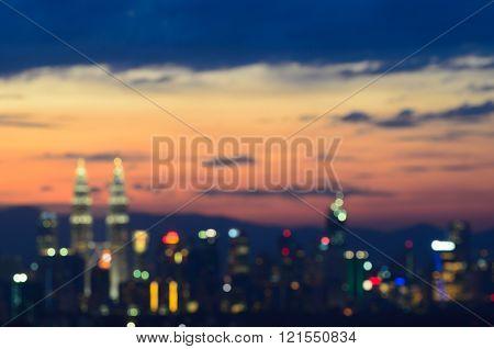 Bokeh Of City Lights Of Kuala Lumpur At The Sunset