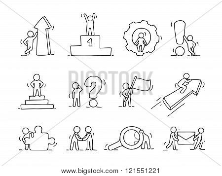 Business icons set of sketch working little people with arrow flag gear. Doodle cute miniature scenes of workers. Hand drawn cartoon vector illustration for business design and infographic.