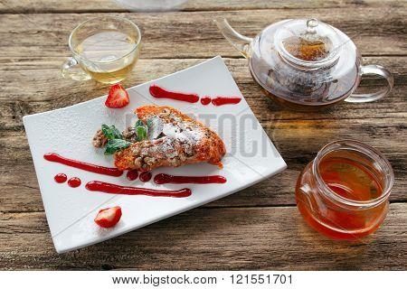 Healthy vegetable dessert . Pie and herbal tie
