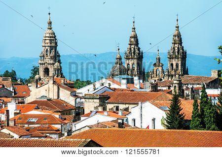 Aerial view of Santiago de Compostela Cathedral
