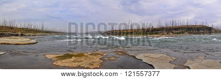The rapids on a Northern river. The threshold Oron on the river Fish the Putorana plateau.