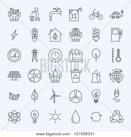 Line Green Energy Eco Icons Set