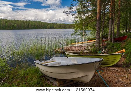Boats Near Lake