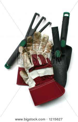 Used Gardening / Work Gloves And Tools