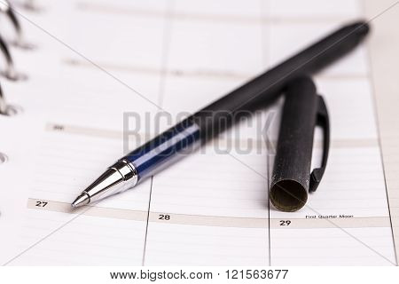 Planner, Calendar And Pen
