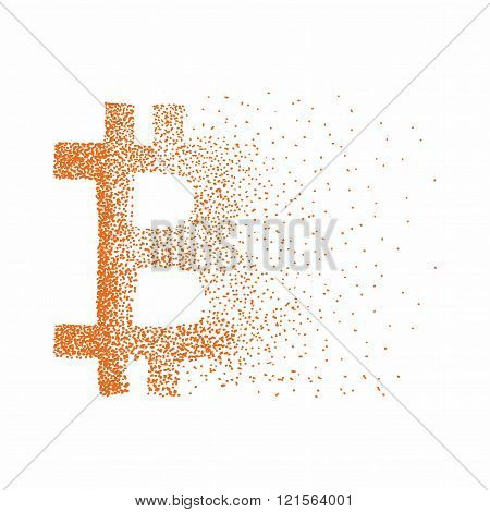 Vector Bitcoin symbol. Hand drawn cryptography illustration