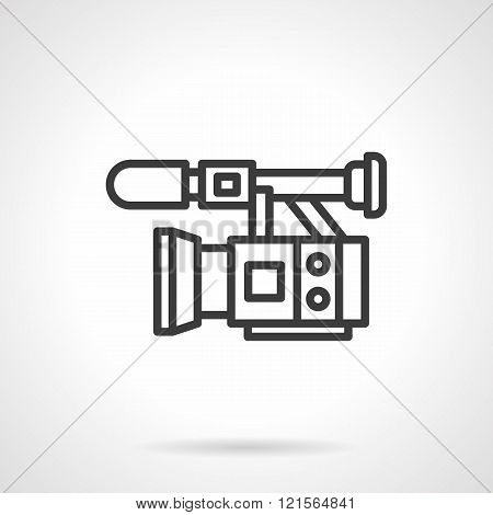 Professional video filming black line vector icon