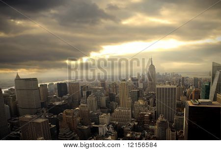 top view of New York city and Empire State Building