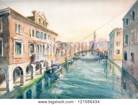 Canal at the old town of Chioggia - Italy.Picture created with watercolors