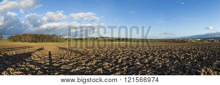 rural panorama landscape with fields