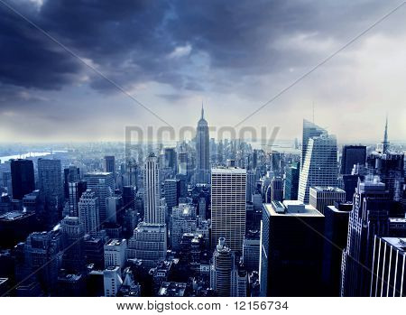 beautiful top view of manhattan in blue