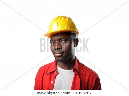 portrait of black worker with hard hat