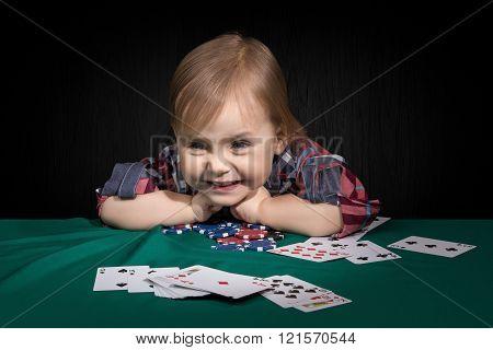 Child Grabbed The Poker Chips