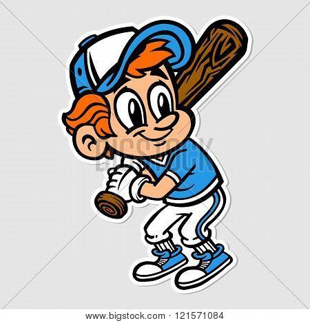 Baseball Player Kid vector cartoon
